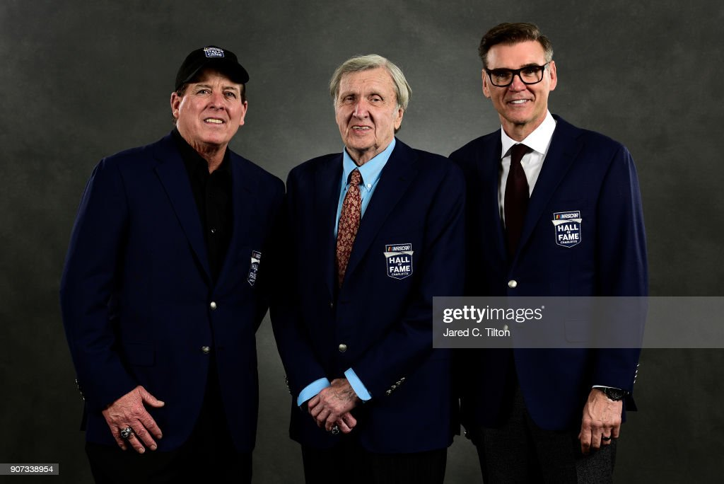 Hall of Fame inductees Ron Hornaday Jr., Ken Squier, and Ray Evernham pose for a portrait during the NASCAR Hall of Fame Induction Ceremony at Charlotte Convention Center on January 19, 2018 in Charlotte, North Carolina.