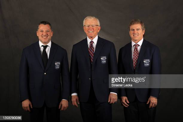 2020 NASCAR Hall of Fame Inductees Tony Stewart Joe Gibbs and Bobby Labonte pose for a portrait during the 2020 NASCAR Hall of Fame Induction...