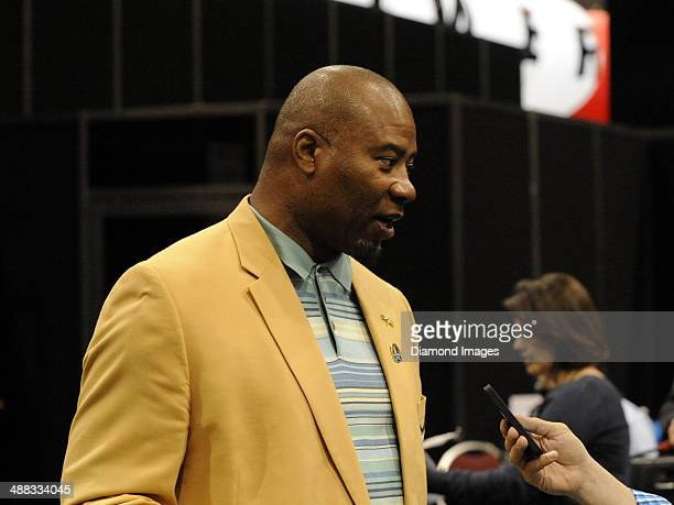 Hall of fame linebacker Chris Doleman answers questions from the media during the first Pro Football Hall of Fame Fan Fest at the IX Center in...
