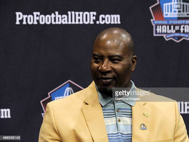 Hall of fame linebacker Chris Doleman listens to questions from the media during the first Pro Football Hall of Fame Fan Fest at the IX Center in...