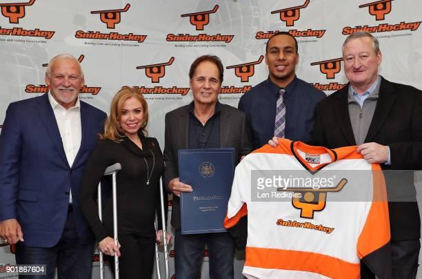 Hall of Fame member and former Philadelphia Flyer Bernie Parent City of Philadelphia representative Sheila Hess Ed Snider Youth Hockey Foundation...