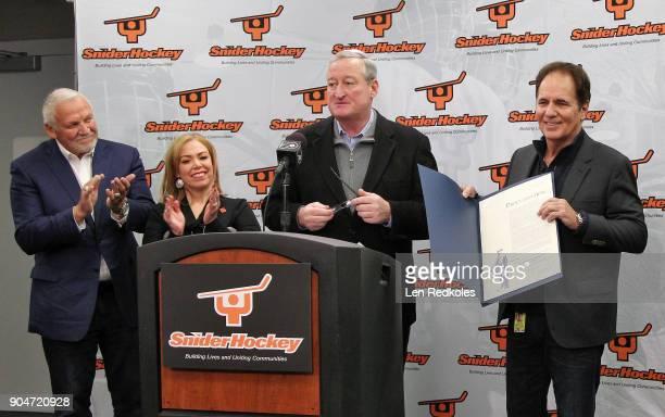 NHL Hall of Fame member and former Philadelphia Flyer Bernie Parent City of Philadelphia representative Sheila Hess the Mayor of Philadelphia Jim...