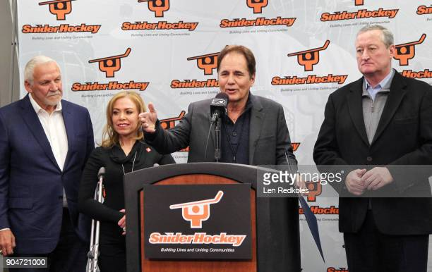 NHL Hall of Fame member and former Philadelphia Flyer Bernie Parent City of Philadelphia representative Sheila Hess Ed Snider Youth Hockey Foundation...