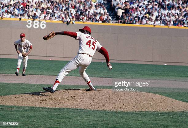 Hall of Fame member Bob Gibson of the St Louis Cardinals pitches against the Detroit Tigers during the World Series at Busch Stadium on October 1968...