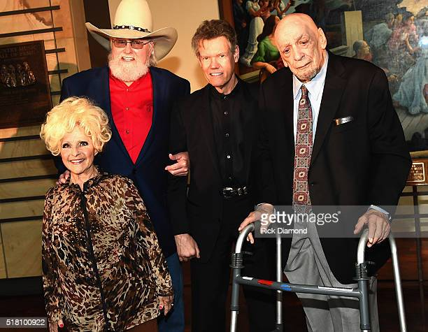Hall of Fame member Brenda Lee with New Inductees Charlie Daniels Randy Travis and Fred Foster attend the CMA Presentation of The 2016 Country Music...