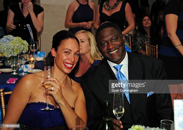 Hall of Fame member Dominique Wilkins poses with his fiancee' Sunny after his induction into the Boys Girls Clubs Hall of Fame on October 6 2011 at...