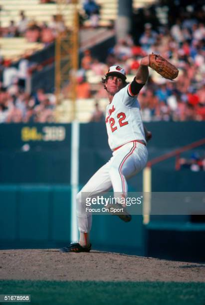 Hall of Fame member Jim Palmer of the Baltimore Orioles pitching on the mound at Memorial Stadium in Baltimore Maryland