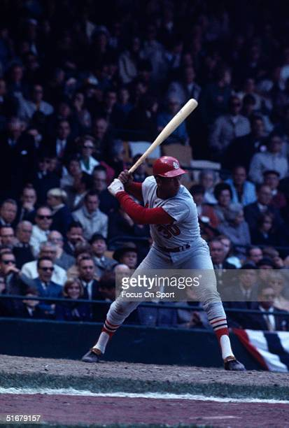 Hall of Fame member Orlando Cepeda of the St. Louis Cardinals batting during the World Series against the Detroit Tigers at Tiger Stadium on October...