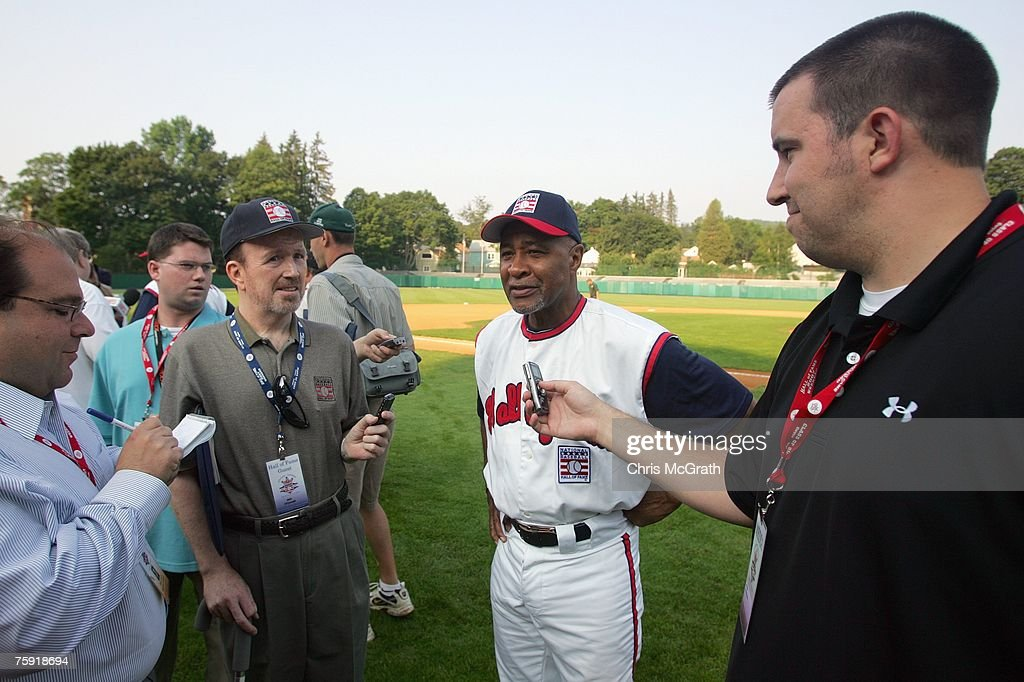 Hall of Fame member Ozzie Smith talks to the media during the Play Ball with Ozzie Smith Clinic held at Doubleday Field on July 27, 2007 in Cooperstown, New York.