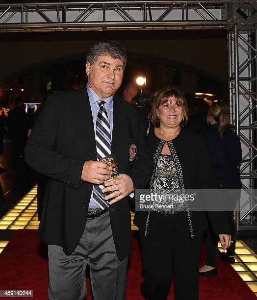 Hall of Fame member Ray Bourque and his wife Christianne walk the red carpet prior to the induction ceremony at the Hockey Hall of Fame on November...
