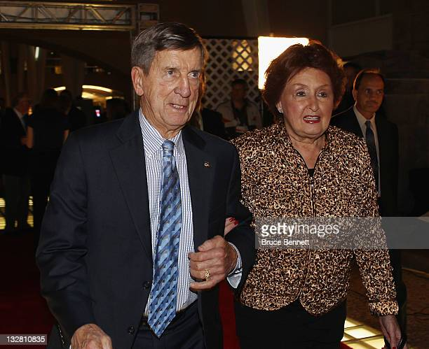 Hall of Fame member Ted Lindsay and his wife Joanne walks the red carpet prior to the 2011 Hockey Hall of Fame Induction ceremony at the Hockey Hall...