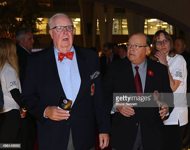 Hall of Fame members Bill Torrey and Scotty Bowman walk the red carpet prior to the 2015 Hockey Hall of Fame Induction Ceremony at Brookfield Place...
