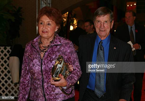 Hall of Fame memeber Ted Lindsay and his wife Joanne attaned the Hockey Hall of Fame Induction ceremony at the Hockey Hall of Fame on November 9 2009...