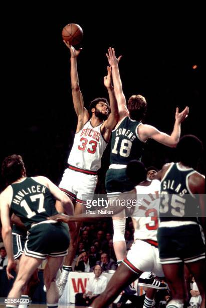 Hall of Fame NBA center Kareem AbdulJabbar of the Milwaukee Bucks 1975 Milwaukee Wi