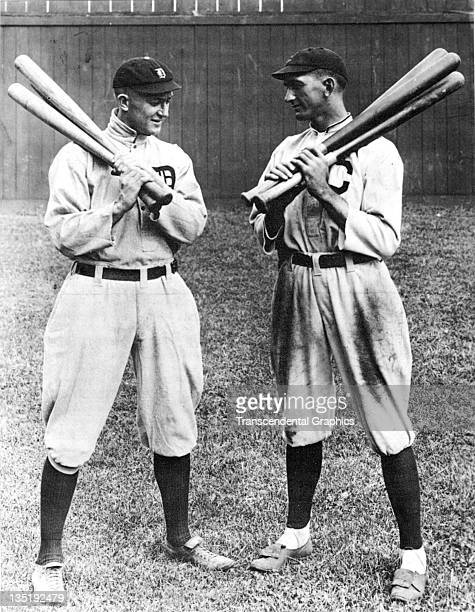 Hall of Fame outfielder Ty Cobb talks with fellow hitting star Joe Jackson right before a contest in Detroit Michigan in 1913