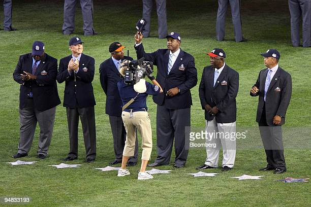 Hall of Fame outfielders from left Tony Gwynn of the San Diego Padres Al Kaline of the Detroit Tigers Frank Robinson of the Baltimore Orioles Dave...