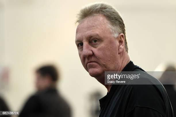 Hall of Fame player and current Indiana Pacers advisor Larry Bird watches action during Day Two of the NBA Draft Combine at Quest MultiSport Complex...
