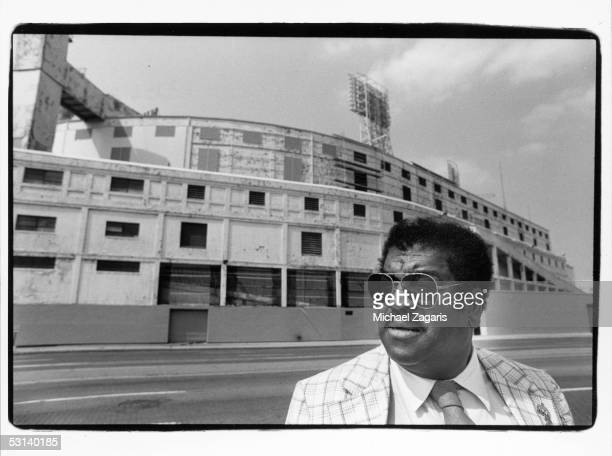 Hall of Fame player Dick 'Night Train' Lane poses for a portrait in front of Tiger Stadium in Detroit Michigan in 1983