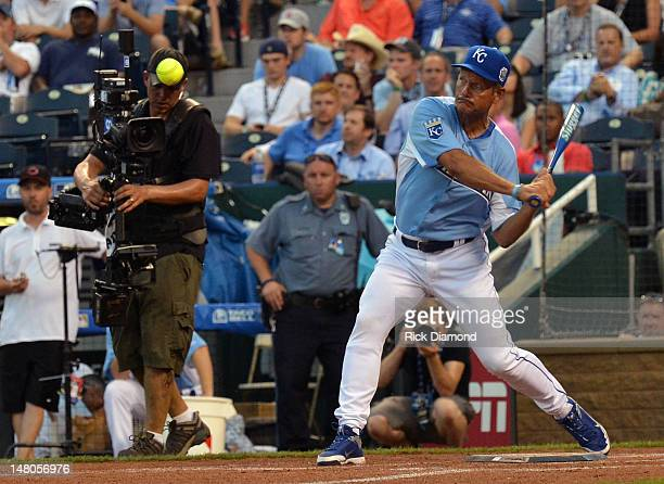 Hall of Fame player George Brett attends the 2012 Taco Bell AllStar Legends Celebrity Softball Game at Kauffman Stadium on July 8 2012 in Kansas City...