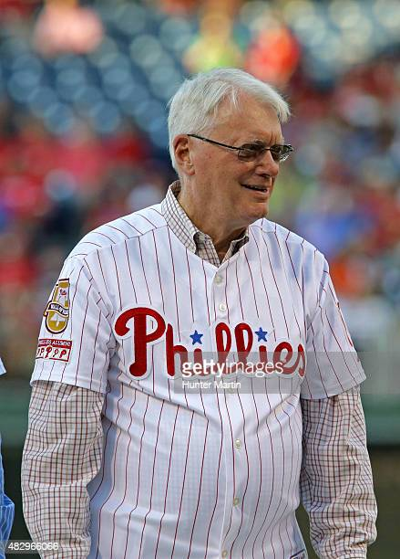 Hall of Fame player righthanded pitcher Jim Bunning of the Philadelphia Phillies stands on the stage during the Pat Burrell 'Wall of Fame' Induction...