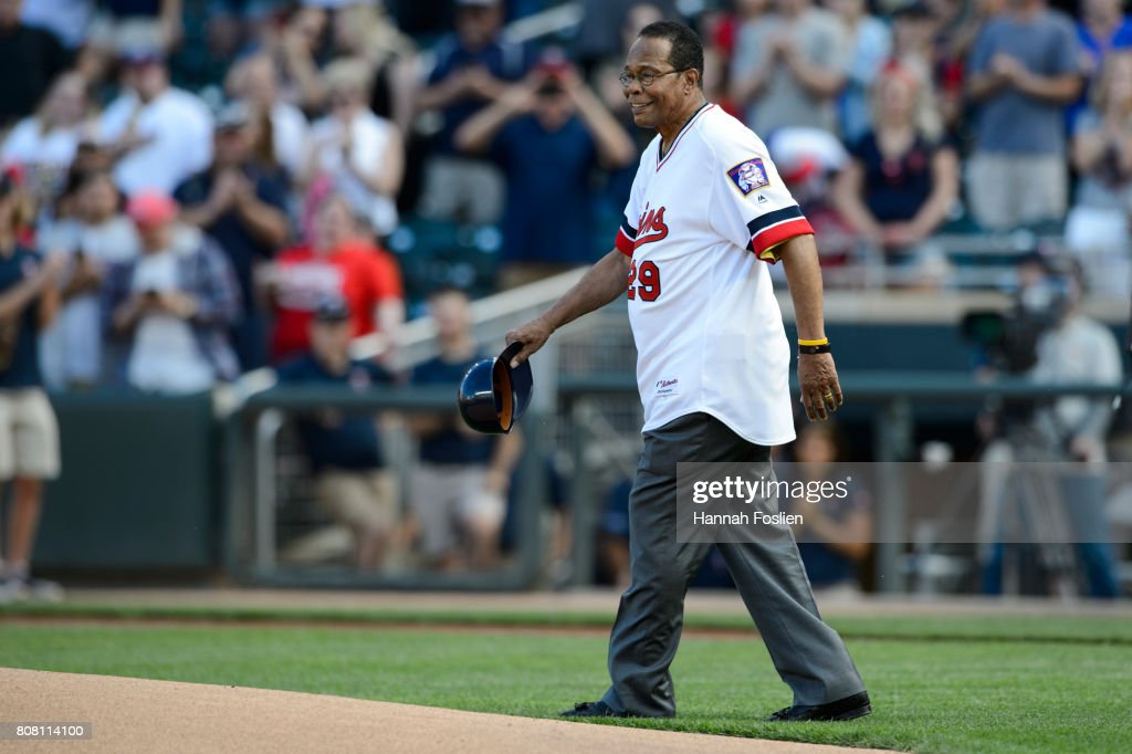 Hall of Fame player Rod Carew is honored in a ceremony before the game between the Minnesota Twins and the Los Angeles Angels of Anaheim on July 3, 2017 at Target Field in Minneapolis, Minnesota. The Twins defeated the Angels 9-5.