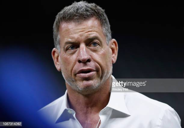 Hall of Fame quarterback and Fox Sports analyst Troy Aikman attends the game between the Los Angeles Rams and the New Orleans Saints at MercedesBenz...