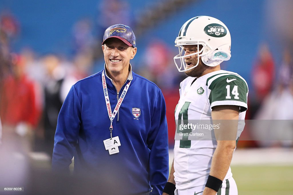 Hall of Fame quarterback Jim Kelly of the Buffalo Bills watches Ryan Fitzpatrick #14 of the New York Jets before the game between the Buffalo Bills and the New York Jets at New Era Field on September 15, 2016 in Orchard Park, New York.