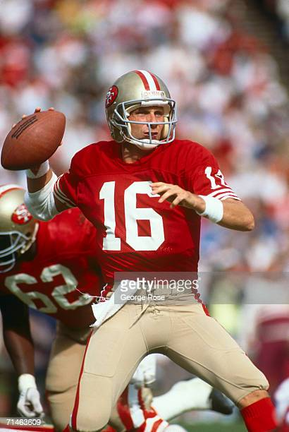 Hall of Fame quarterback Joe Montan of the San Francisco 49ers leads the team to a victory in a 1995 San Francisco California football game against...