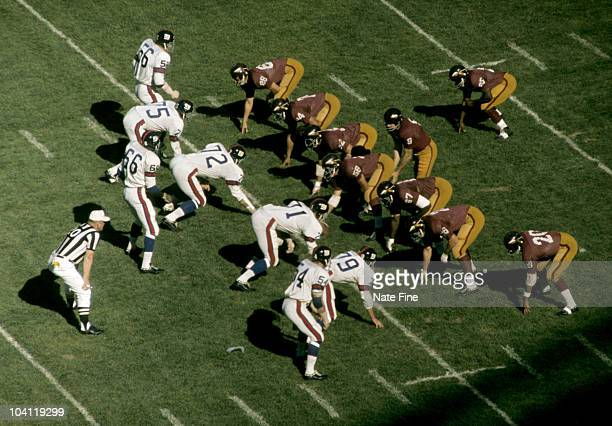 Hall of Fame quarterback Sonny Jurgensen of the Washington Redskins calls signals at the line of scrimmage during the Redskins 1310 loss to the New...