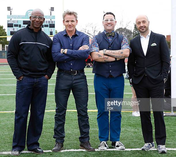 Hall of Fame running back Eric Dickerson and judges Gordon Ramsay Graham Elliot and Joe Bastianich in the Top 10 Compete episode of MASTERCHEF airing...