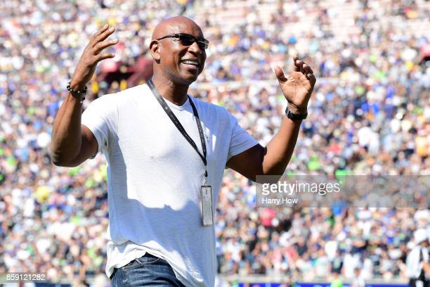 Hall of Fame running back Eric Dickerson is seen during the game between the Los Angeles Rams and the Seattle Seahawks at the Los Angeles Memorial...