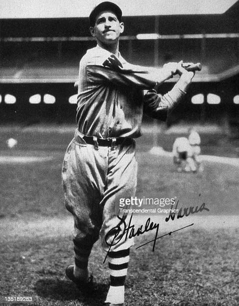 Hall of Fame second baseman for the Senators takes a batting pose in Griffith Stadium in Washington DC around 1928