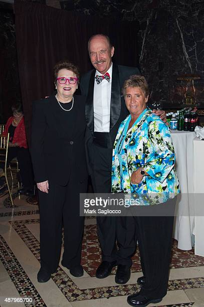 Hall of Fame Tennis Players Billie Jean King Stan Smith and Rosie Casals attend the 2015 International Tennis Hall of Fame legends ball at Cipriani...