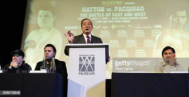 Hall of Fame Top Rank promoter Bob Arum speaks while fourtime world champion Manny Pacman Pacquiao General SantosPhilippines and Ricky The Hitman...