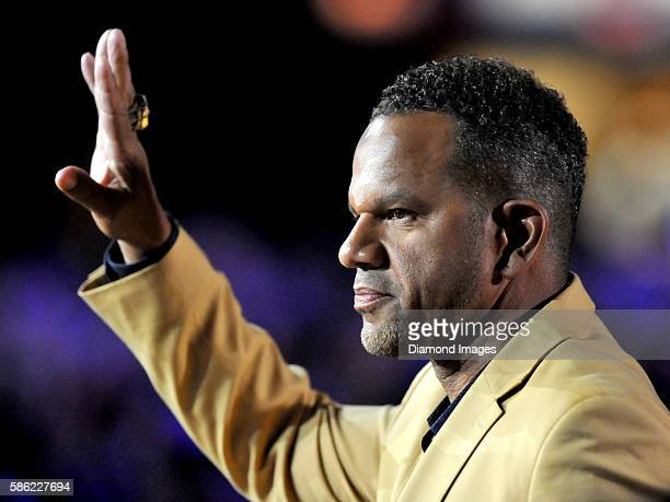 Hall of Fame wide receiver Andre Reed waves to the crowd during the Pro Football Hall of Fame Gold Jacket Dinner on August 4 2016 at the Canton...