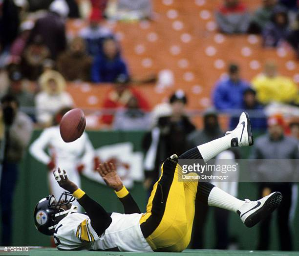 Hall of Fame wide receiver John Stallworth of the Pittsburgh Steelers makes an acrobatic catch on his back during the Steelers 3628 victory over the...