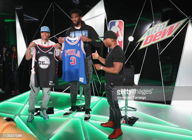 Hall of Famer Allen Iverson NBA All Star Joel Embiid and Charlamagne Tha God on stage at MTN DEW ICE Courtside Studios during NBA AllStar 2019 at...