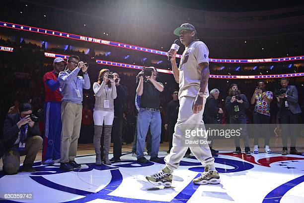 Hall of Famer Allen Iverson talks to the fans before the Los Angeles Lakers game against the Philadelphia 76ers at the Wells Fargo Center on December...