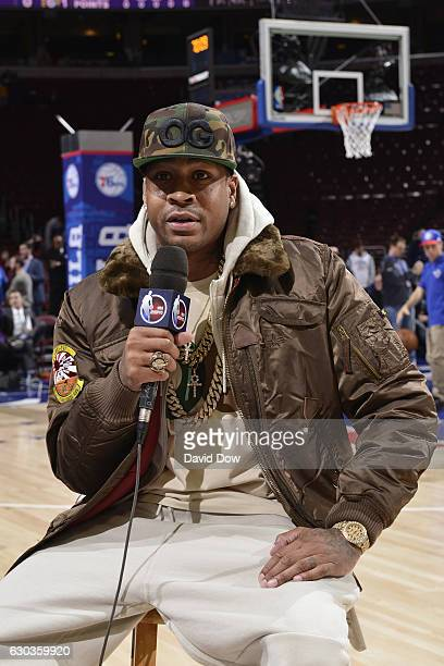 Hall of Famer Allen Iverson talks to the media before the Los Angeles Lakers game against the Philadelphia 76ers at the Wells Fargo Center on...