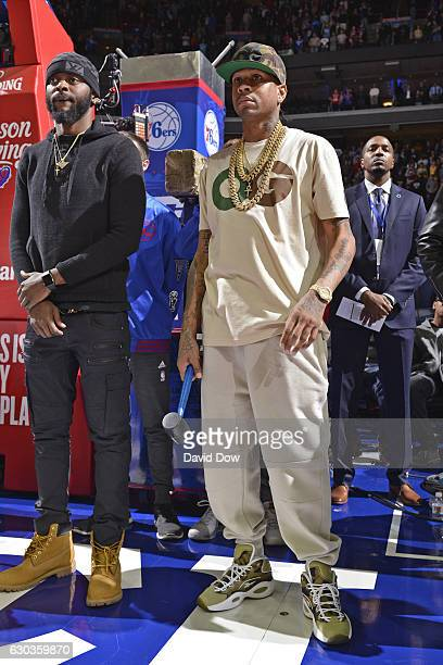 Hall of Famer Allen Iverson waits to talk to the fans before the Los Angeles Lakers game against the Philadelphia 76ers at the Wells Fargo Center on...