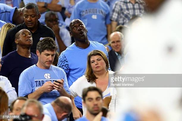 NBA hall of famer and Charlotte Hornets owner Michael Jordan reacts during the 2016 NCAA Men's Final Four National Championship game between the...