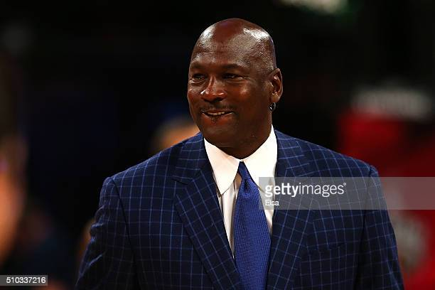 NBA hall of famer and Charlotte Hornets owner Michael Jordan walks off the court during the NBA AllStar Game 2016 at the Air Canada Centre on...