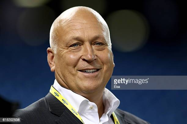 Hall of famer and former Baltimore Oriole Cal Ripken Jr. Looks on prior to game three of the American League Championship Series between the Toronto...
