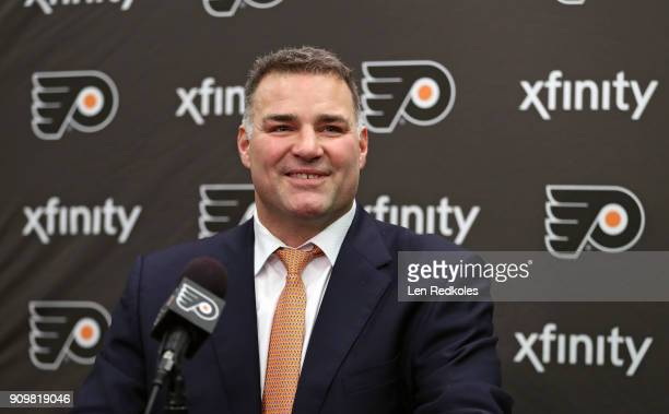 Hall Of Famer and former Philadelphia Flyer Eric Lindros speaks during a press conference prior to his Jersey Retirement Night ceremony on January 18...