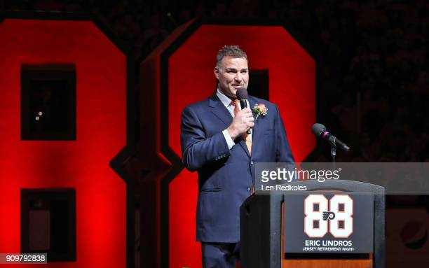 Hall of Famer and former Philadelphia Flyer Eric Lindros speaks to the crowd during his Jersey Retirement Night ceremony prior to a NHL game between...