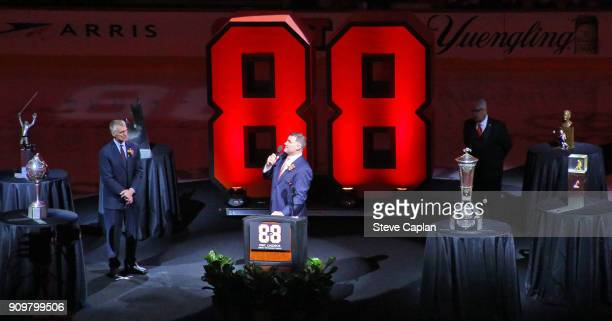 Hall of Famer and former Philadelphia Flyer Eric Lindros speaks to the crowd during his Jersey Retirement Night ceremony with Flyer President Paul...