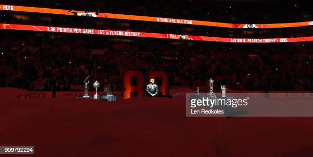 Hall of Famer and former Philadelphia Flyer Eric Lindros stands at the start of his Jersey Retirement Night ceremony prior to a NHL game between the...