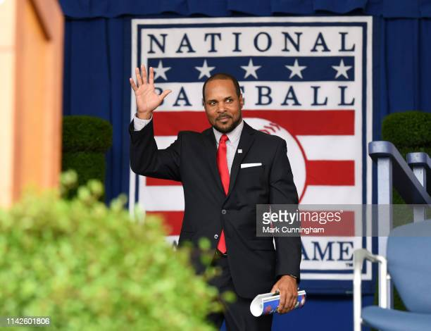 Hall of Famer Barry Larkin is introduced during the Baseball Hall of Fame induction ceremony at the Clark Sports Center on July 29 2018 in...