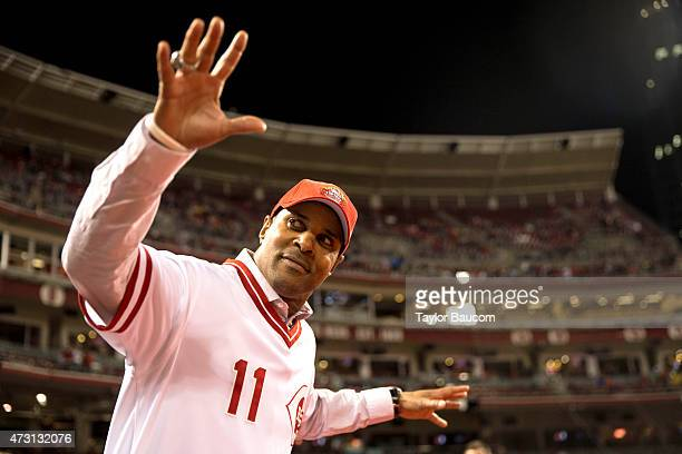 Hall of famer Barry Larkin of the 1990 Cincinnati Reds team walks on the field during the celebration festivities after the game between the Chicago...