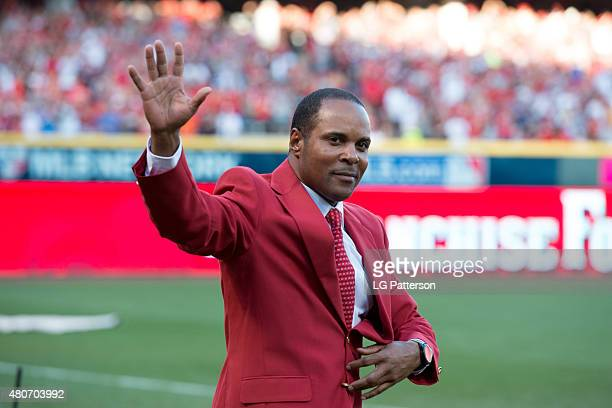 Hall of Famer Barry Larking is introduced as part of the Cincinnati Reds Franchise Four before the 86th MLB AllStar Game at Great American Ball Park...